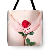Nude With Red Rose Tote Bag