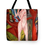 Nude Woman Combing Her Hair Tote Bag