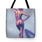 Nude Woman In Finger Strokes Tote Bag