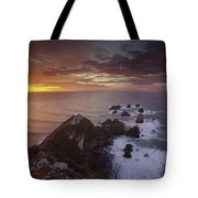 Nugget Point Lighthouse At Sunrise Tote Bag