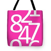 Numbers In Pink And White Tote Bag