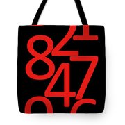 Numbers In Red And Black Tote Bag