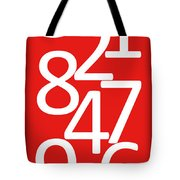 Numbers In Red And White Tote Bag