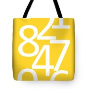 Numbers In Yellow And White Tote Bag