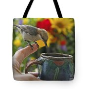 Nuthatch Bird On Finger Photo Tote Bag