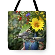 Nuthatch Bird Having Tea Tote Bag