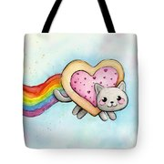 Nyan Cat Valentine Heart Tote Bag by Olga Shvartsur