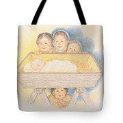 O Come Little Children - Christmas Card Tote Bag
