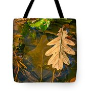Oak Leaves In A Puddle Tote Bag