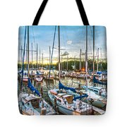 Oak Pt Harbor At Sundown Tote Bag