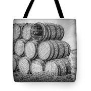 Oak Wine Barrels Black And White Tote Bag