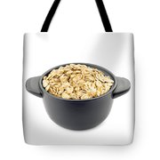 Oat Flakes In A Black Cup Tote Bag