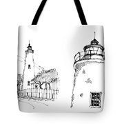 Ocaracoke Lighthouse Detail Sketches 1992 Tote Bag by Richard Wambach