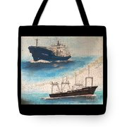 Ocean Phoenix And Excellence Boat Nautical Chart Map Art Tote Bag