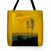 Ocean Sunset With Agave Silhouette Tote Bag