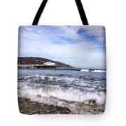 Ocean Waves Blue Sky And A Surfer At Malibu Beach Pier Tote Bag
