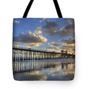 Oceanside Pier Sunset Reflection Tote Bag