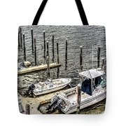 Ocnj Boats At Marina Tote Bag