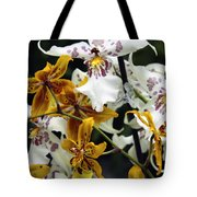 Gold And White Orchids Tote Bag