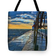 October Sunset At St. Joseph Lighthouse - Simulated Oil  Tote Bag