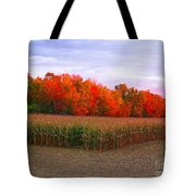 October Sunset On The Autumn Woods Tote Bag