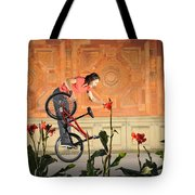 Oh A Pretty Flower - Funny Bmx Flatland Pic With Monika Hinz Tote Bag