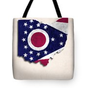 Ohio Map Art With Flag Design Tote Bag