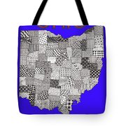 Ohio Map Blue Tote Bag