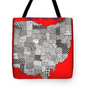 Ohio Map Red Tote Bag
