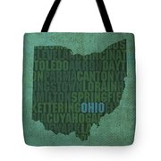 Ohio State Word Art On Canvas Tote Bag