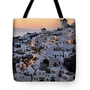 Oia Town During Sunset Tote Bag