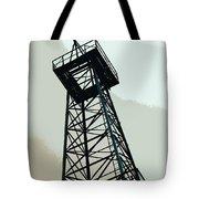 Oil Derrick In Gray Tote Bag