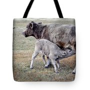 Oil Paint Look Cow And Calf Portrait Usa Tote Bag