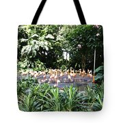 Oil Painting - A Number Of Flamingos Surrounded By Greenery In Their Enclosure  Tote Bag