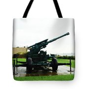 Oil Painting - Anti Aircraft Gun At Dover Castle Tote Bag