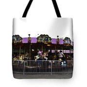 Oil Painting - Children And Adults At The Merry Go Round Inside The Blair Drumm Tote Bag