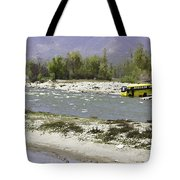 Oil Painting - Front Part Of School Bus In A Mountain Stream On The Outskirts Of Srinagar Tote Bag