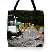 Oil Painting - Heavy Machinery Doing Some Excavation As Part Of Construction Tote Bag
