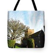 Oil Painting - Lighthouse And Church Inside Dover Castle Tote Bag