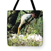 Oil Painting - Mama Stork Feeding Young Tote Bag