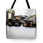 Oil Painting - Multiple Families Relaxing In Multiple Shikaras In The Dal Lake Tote Bag