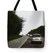 Oil Painting - Nissan Micra On The Streets Of Scotland With Greenery On Both Sides Tote Bag
