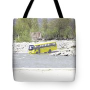 Oil Painting - School Bus In A Mountain Stream On The Outskirts Of Srinagar Tote Bag