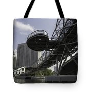 Oil Painting - The Bayfront Bridge And Helix Bridge In Singapore Tote Bag