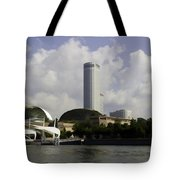 Oil Painting - The Swissotel Is A Tall Hotel In Singapore Next To The Esplanade Tote Bag