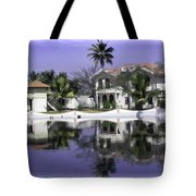 Oil Painting - View Of The Cottages And Palm Trees Tote Bag