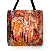 Oil Painting - Wonderfully Decorated Hands Of A Bride Tote Bag