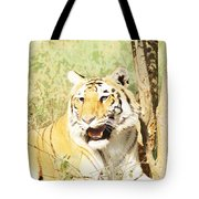Oil Painting - An Alert Tiger Tote Bag