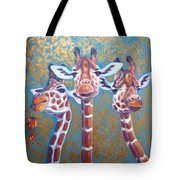 Oil Painting Of Three Gorgeous Giraffes Tote Bag