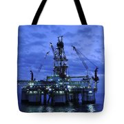 Oil Rig At Twilight Tote Bag by Bradford Martin